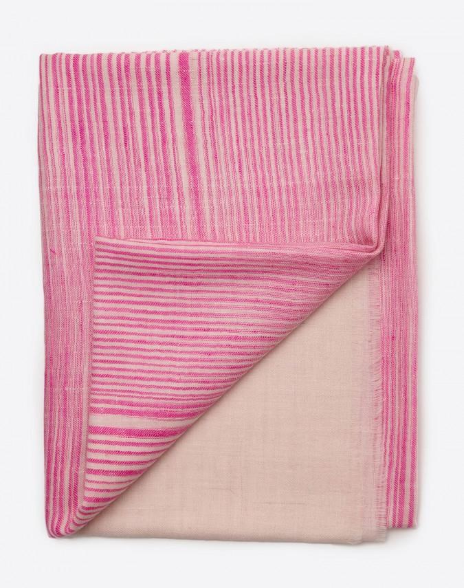 Gila Pashmina Kaschmirschal pink/weiss