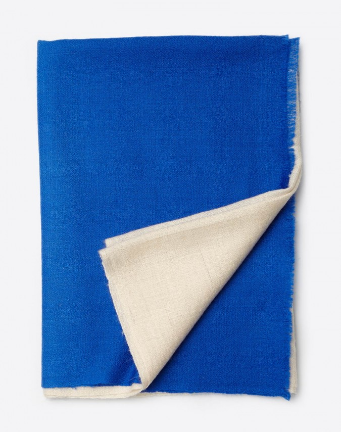 Pina Pashmina Kaschmirschal weiss/blau